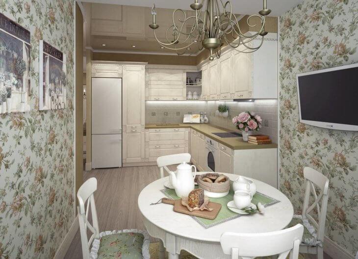 Выбираем обои для кухни в стиле прованс, а также зрительно расширяем пространство с помощью фотообоев